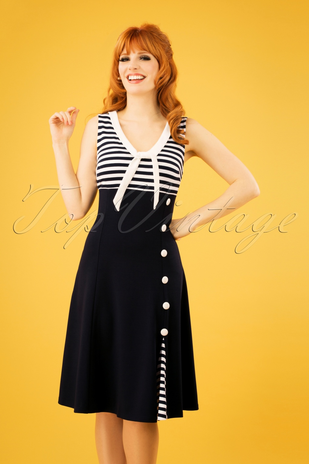 Vintage Cruise Outfits, Vacation Clothing 50s Vera Nautical Flared Sailor Dress in Navy £34.15 AT vintagedancer.com