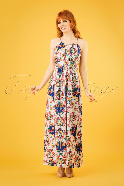 Retro Tiki Dress – Tropical, Hawaiian Dresses 60s Mexicana Folk Floral Maxi Dress in White �76.58 AT vintagedancer.com