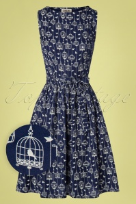 50s Birdcage Swing Dress in Navy