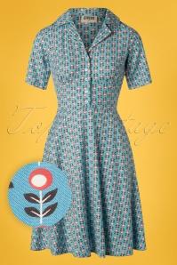 60s Stem Swing Dress in Sky Blue