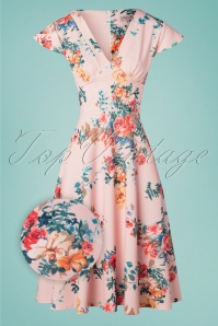 Vintage Chic for TopVintage Bianca Bouquet Swing Dress Années 50 en Rose