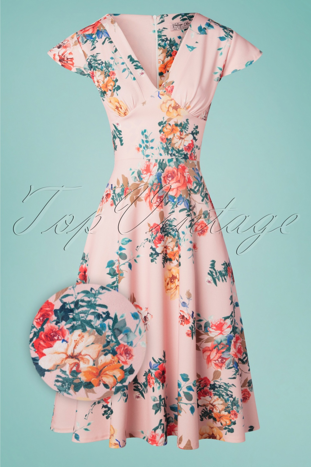 3e3880ae21dd9 Vintage Chic for TopVintage 50s Bianca Bouquet Swing Dress in Pink