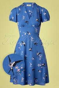 Circus Swallow Floral Swing Dress Années 50 en Bleu Nuit