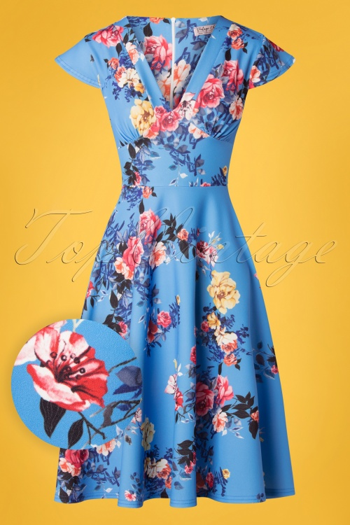 Vintage Chic 28766 Swing Dress Blue Roses Print 20190311 008W1