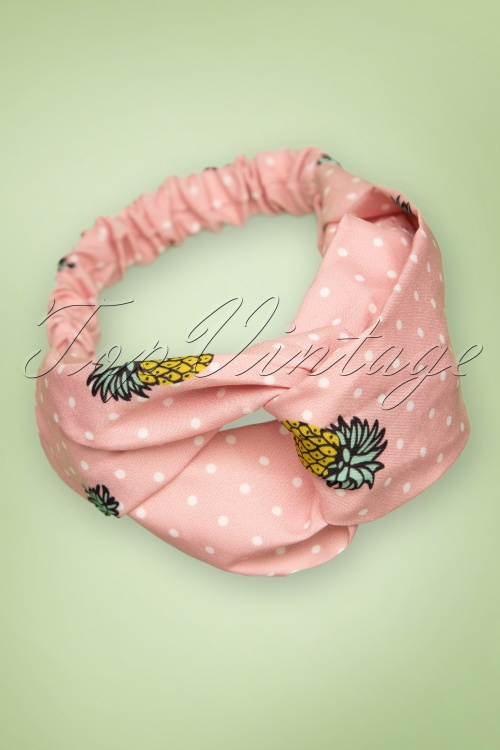 Banned Retro 26797 Headband Hairband Hair Black Roze Polkadot Pineappel White Pink 20190313 010W