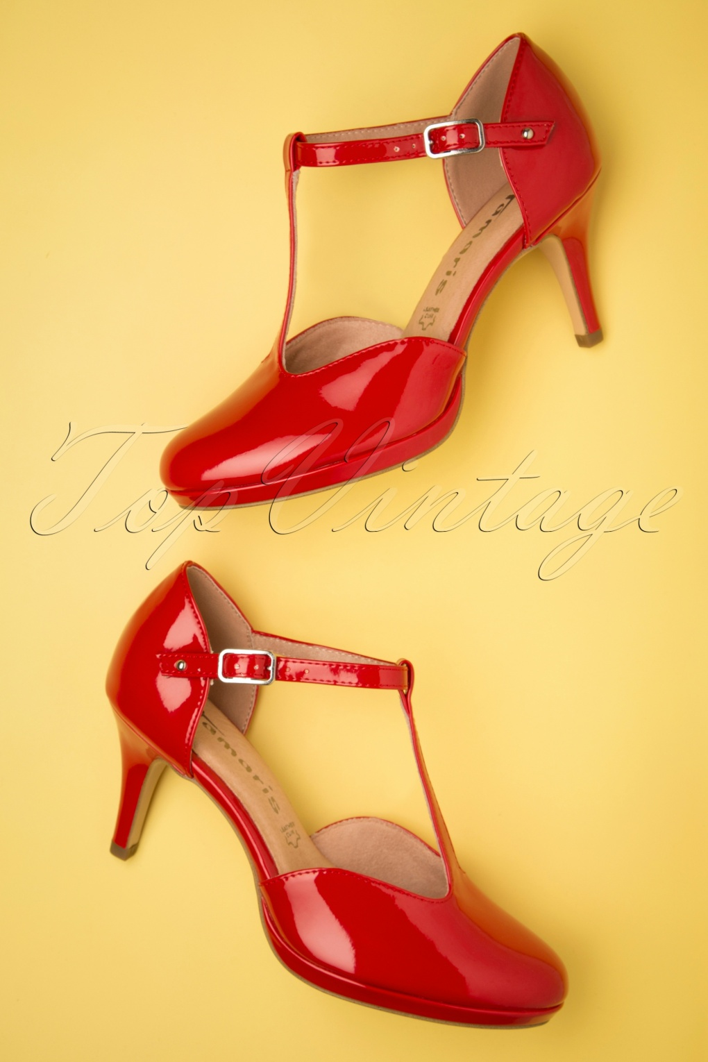 1950s Shoe Styles: Heels, Flats, Sandals, Saddles Shoes 50s Jenny Lacquer T-Strap Pumps in Chili �51.19 AT vintagedancer.com