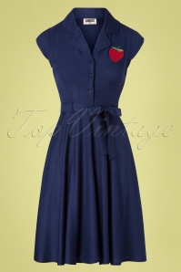 Circus 60s Penny Strawberry Dress in Navy