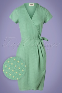 Circus 60s Pia Pindot Wrap Dress in Mint Green