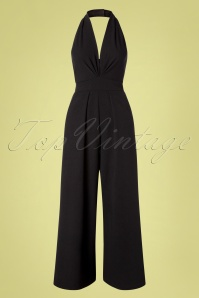 50s Yolanda Halter Jumpsuit in Black