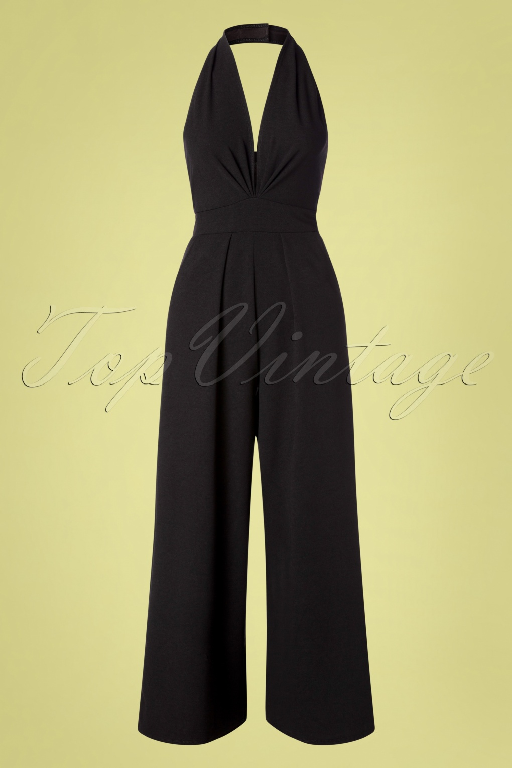 1960s Style Dresses, Clothing, Shoes UK 50s Yolanda Halter Jumpsuit in Black �60.16 AT vintagedancer.com