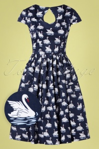 Banned Retro 50s Summer Swan Swing Dress in Navy