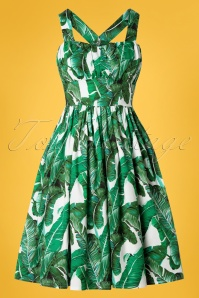 Banned Retro 50s Tropical Leaf Swing Dress in Green