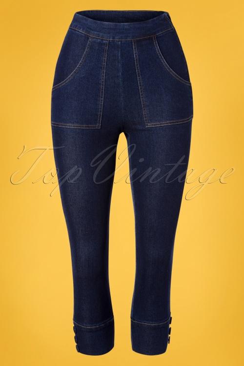 Vixen 28350 50s Hairley Capri Denim Jeans 20190320 002W