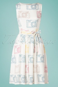Circus 60s Photo Swing Dress in Ivory