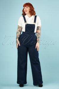 70s Natalia Heart Pocket Overall Jumpsuit in Denim