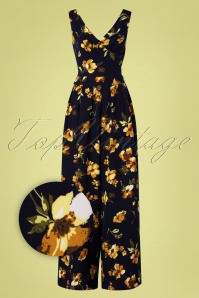 70s Andrea Floral Flared Jumpsuit in Navy