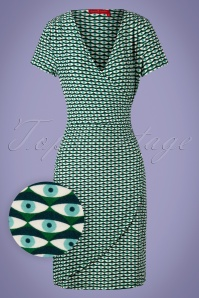 Bakery Ladies 26682 V Neck Green Eyes Dress 20190321 002W1