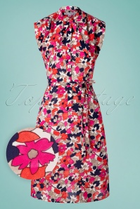 60s Summer Bow Ombrello Dress in Pink