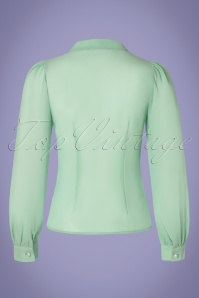 Collectif Clothing 30167 Luiza Plain Bouse in Mint Green 20190321 008W