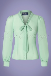 Collectif Clothing 40s Luiza Blouse in Light Green