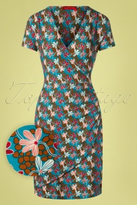 Bakery Ladies 60s Sea Mini Flower Wrap Dress in Blue