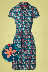 Bakery Ladies 60s Pacific Mini Flower Polo Dress in Blue