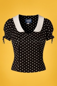 Collectif Clothing 27455 Mirella Polkadot Top in Black 20180813 001W