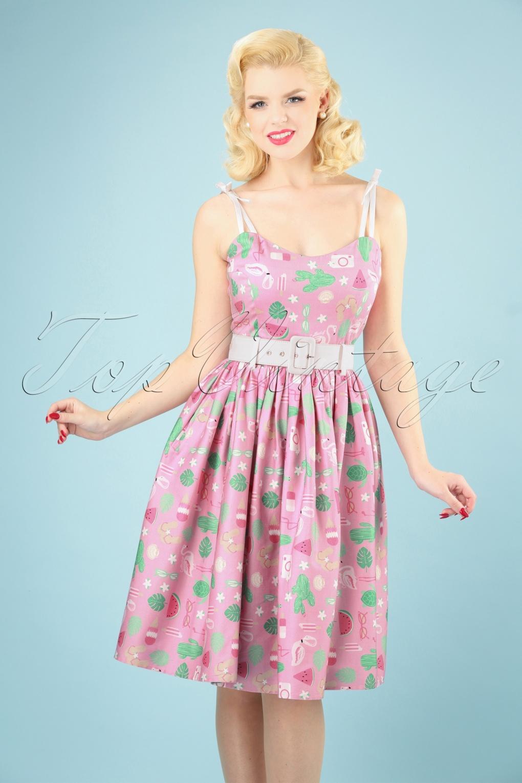 Retro Tiki Dress – Tropical, Hawaiian Dresses 50s Jade Summer Flamingo Swing Dress in Pink £35.48 AT vintagedancer.com