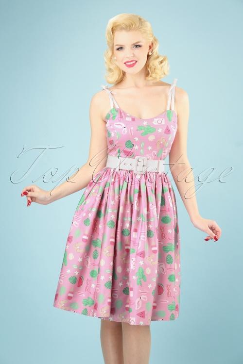 Collectif Clothing 27426 Jade Summer Flamingo Dress 20180814 005W
