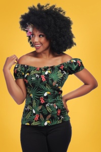 Collectif Clothing 50s Lorena Tropicalia Top in Black