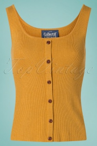 Collectif Clothing 27447 Sadie Knitted Top in Mustard 20180813 005W
