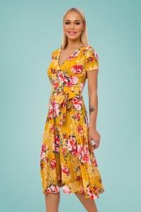 Vintage Chic 28775 Mustard Floral Dress 20190305 012