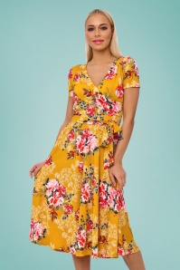 50s Faith Floral Swing Dress in Mustard