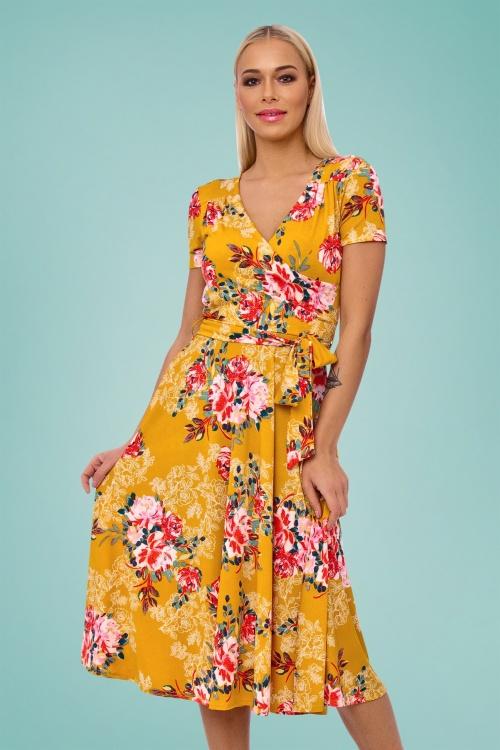 Vintage Chic 28775 Mustard Floral Dress 20190305 011