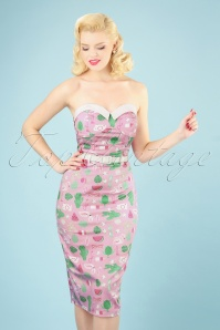 50s Monica Summer Flamingo Pencil Dress in Pink