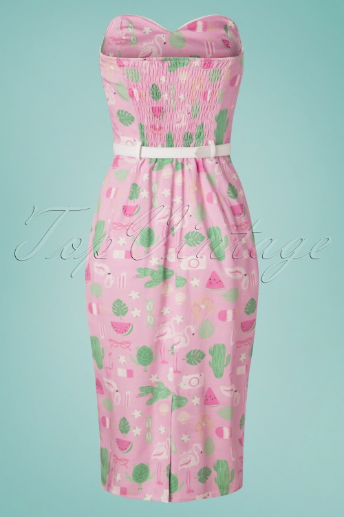 daf9bae1f9f1e9 Collectif Clothing 27410 Monica Summer Flamingo Pencil Dress 20180815 005W