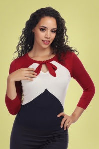 Collectif Clothing 27446 Claretta Chevron Jumper in Red White Blue 20180813 020W