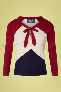 Collectif Clothing 27446 Claretta Chevron Jumper in Red White Blue 20180813 001W