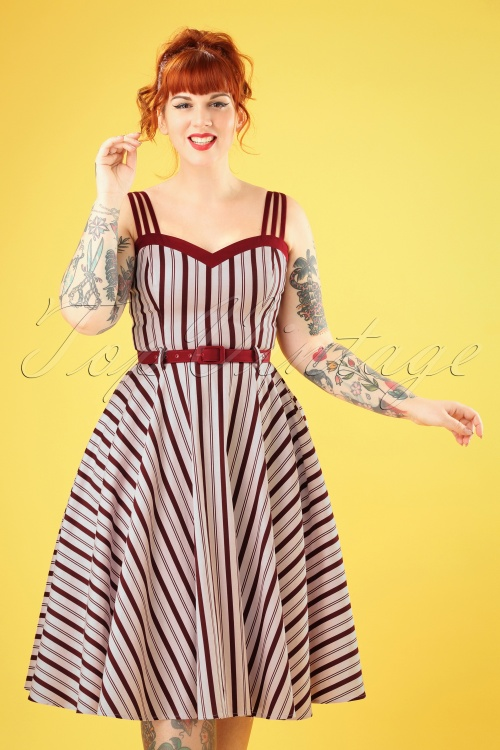 Collectif Clothing 27420 Nova Candy Stripe Swing Dress 20180814 006W