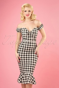50s Sasha Vintage Gingham Pencil Dress in Black and White