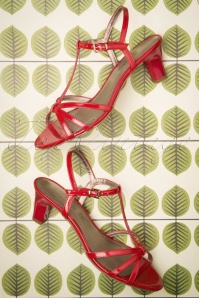 Tamaris 50s Patent Strappy Sandals in Chili Red