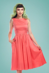 Collectif Clothing 50s Nia Swing Dress in Peach