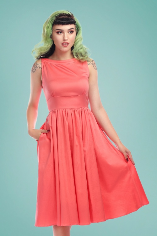 Collectif Clothing 27416 Nia Plain Swing Dress in Peach 20180814 020W