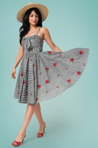 Unique Vintage 27692 Golightly Checked Bow Swing Dress 20190321 013