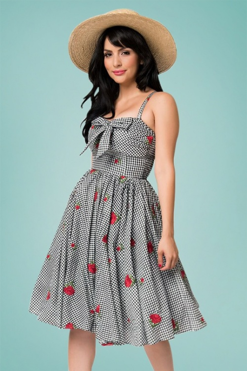 Unique Vintage 27692 Golightly Checked Bow Swing Dress 20190321 012