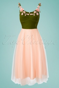 Collectif Clothing 50s Josie Occasion Swing Dress in Pink and Green