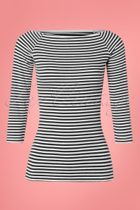 Collectif Clothing 50s Frou Frou Striped T-Shirt in Black and White
