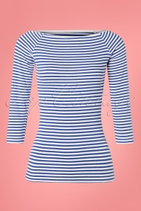 Collectif Clothing 50s Frou Frou Striped T-Shirt in Navy and White