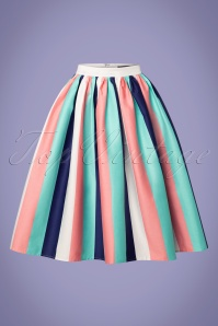 Collectif Clothing 50s Jasmine Seaside Stripes Swing Skirt in Multi
