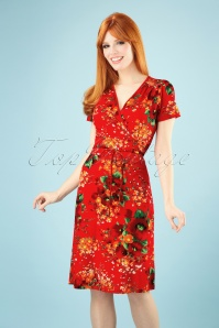60s Cecil Splendid Dress in Fiery Red